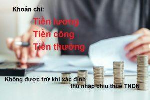 Những khoản chi tiền lương tiền công tiền thưởng không được trừ khi tính thuế TNDN